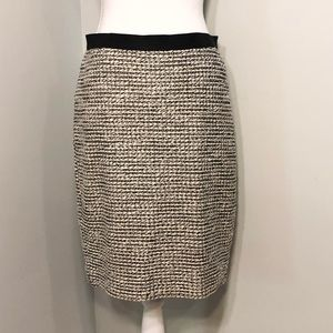 Ann Taylor Loft Tweed Black White Skirt
